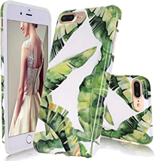 DOUJIAZ Compatible with iPhone 7 Plus Case,iPhone 8 Plus Case,Banana Palm Leaves Pattern Slim Shockproof Flexible Glossy TPU Soft Case Rubber Silicone Skin Cover for iPhone 7 Plus/iPhone 8 Plus