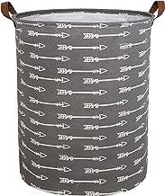 CLOCOR Collapsible Round Storage Bin/Large Storage Basket/Clothes Laundry Hamper/Toy Storage Bin (Grey Arrows)