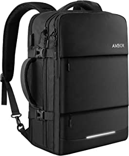 AMBOR 17.3inch Travel Laptop Backpack, 40L Flight Approved Carry-On Backpack for Men and Women,TSA Friendly Travel Backpack Business Anti-Theft Large Daypack Weekender Bag-Black