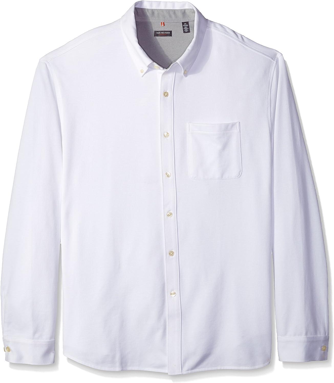 Van Heusen Men's Big and Tall Traveler Long Sleeve Button Front Knit Shirt