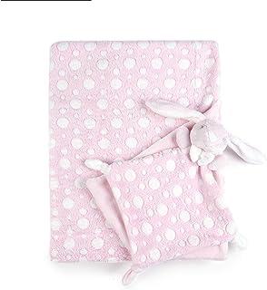 Tadpoles Plush Comfort Baby Security Blanket & Lovie 2PC Set, Pink Bubbles & Bunny Best Friend