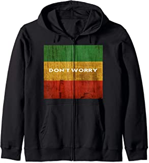 Rasta Colors Reggae Don't Worry Origines des îles Rastafari Sweat à Capuche