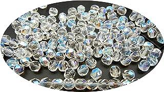 26 Czech Aurora Borealis Glass Beads 8mm Smooth Round Crystal AB Beads