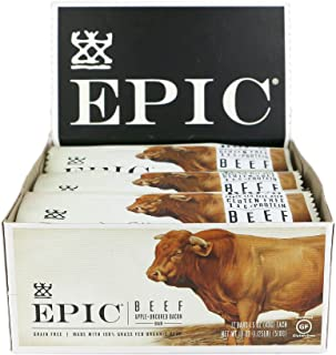 EPIC Beef with Apple & Uncured Bacon, Grass-Fed Protein Bars, 1.5 oz. (12 Count)