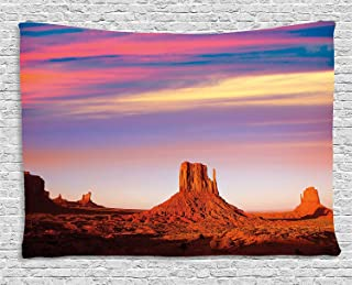 Anzona United States Tapestry Wall Hanging 78''W x 59''L, Monument Valley West Mitten and Merrick Butte Sunset Utah Desert, Tapestries Wall Hangings/Wall Blanket for Bedroom/Living Room/Dorm