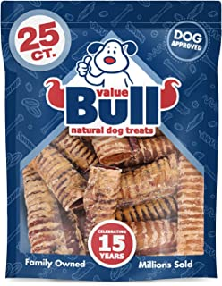 ValueBull Beef Trachea, Premium 6 Inch, 25 Count - Angus Beef Dog Chews, Grass-Fed, Single Ingredient