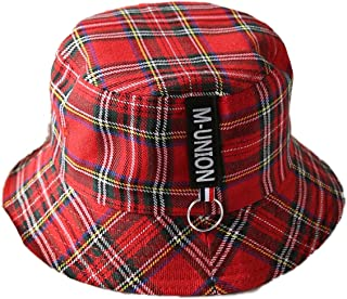Plaid Bucket Hats Flat Top Sun Protection Fisherman Caps with Ring