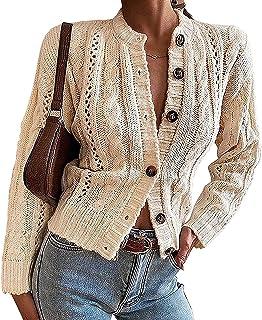 Cárdigan grueso de manga larga para mujer, tipo kimono de punto con parte delantera abierta, suéter de punto abotonado, ta...