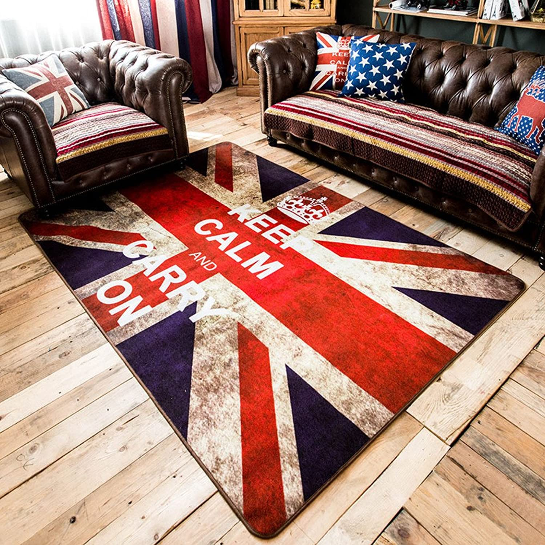 SE7VEN British Wind Rice Word Flag Living Room Carpet The Bedroom Floor mat Retro Creative Carpet-A 70x140cm(28x55inch)