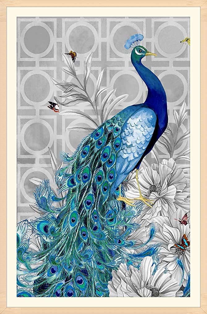 DIY 5D Diamond Painting by Number Kits Crystal Rhinestone Diamond Embroidery Paintings Pictures Arts Craft for Home Wall Decor (Peacock,Frame Excluded)