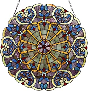 Bieye W10020 Victorian 22 inches High Webbed Heart Decorative Tiffany Style Stained Glass Window Panel with Hanging Chain