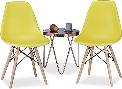 Relaxdays Chaise salle à manger design retro ARVID lot de 2 moderne cuisine HxlxP: 82 x 47 x 55 cm, jaune