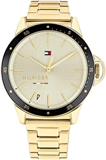 Tommy Hilfiger Women'S Champagne Dial Ionic Thin Gold Plated 2 Steel Watch - 1782025