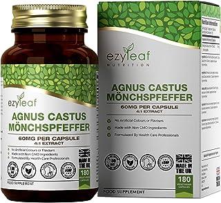 Ezyleaf Vitex Agnus Castus Capsulas (Sauzgatillo) 60mg por Porción   180 Cápsulas Veganas   Tabletas para el Alivio de la Menopausia y el Síndrome Premenstrual para Mujeres   Sin OGM, Gluten o Lácteos
