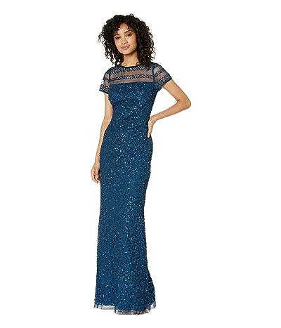 Adrianna Papell Full Beaded Cap Sleeve Illusion Evening Gown (Deep Blue) Women