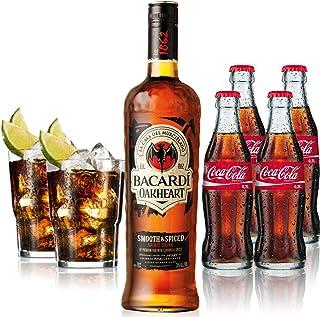 Cuba Libre Set - Bacardi Qakheart Rum 1L 35% Vol  4x Coca Cola 0,2L  2x Bacardi Glas Gläser 2/4cl geeicht - Inkl. Pfand MEHRWEG