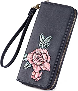 XHHWZB Women Large Wallet Soft Leather Wristlet Card Organizer Phone Holder Ladies Clutch Long Purse with Wrist Strap Zipper Around