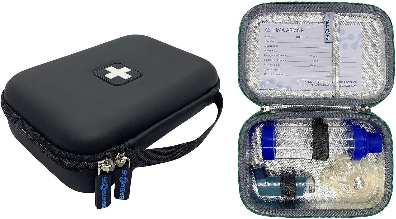 86NEURONS - The Original Asthma Inhaler Travel case and Medicine Bag. Insulated Hard case. Use for Asthma Allergy meds for Kids and Adults. Fits Inhaler Spacer epipen mask Medication (Black) : Health & Household