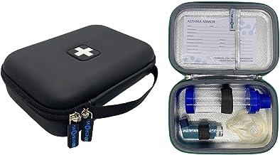 86NEURONS Asthma Armor - The Original Asthma Inhaler case. Insulated Hard case and Medicine Travel Bag for Kids Adults. Fits Inhaler Spacer epipen mask Medication (Black)