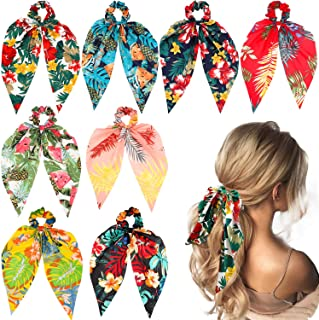 WATINC 8 Pcs Bowknot Hair Scrunchies Bohemian Chiffon Floral Scrunchie Scarf Hair Ties Ponytail Holder with Bows Flower Pa...