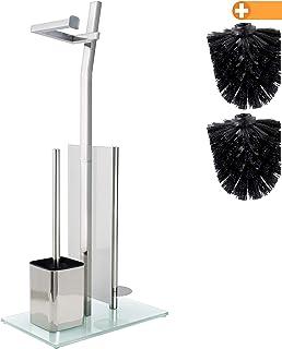 Juego para inodoros con Soporte para Rollo - Cromo Brillante - Soporte para Papel higiénico de Acero Inoxidable Cromado - Base de Vidrio -32x20x70cm -Plus: ¡1+2 Cabezas de escobilla!