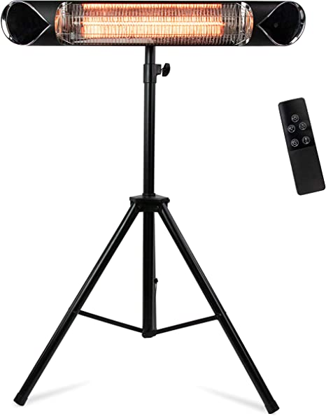 Briza Infrared Patio Heater - Electric Patio Heater - Outdoor Heater - Indoor/Outdoor Heater - Wall Heater - Garage Heater - Portable Heater - 1500W - use with Stand - Mount to Ceiling/Wall: image