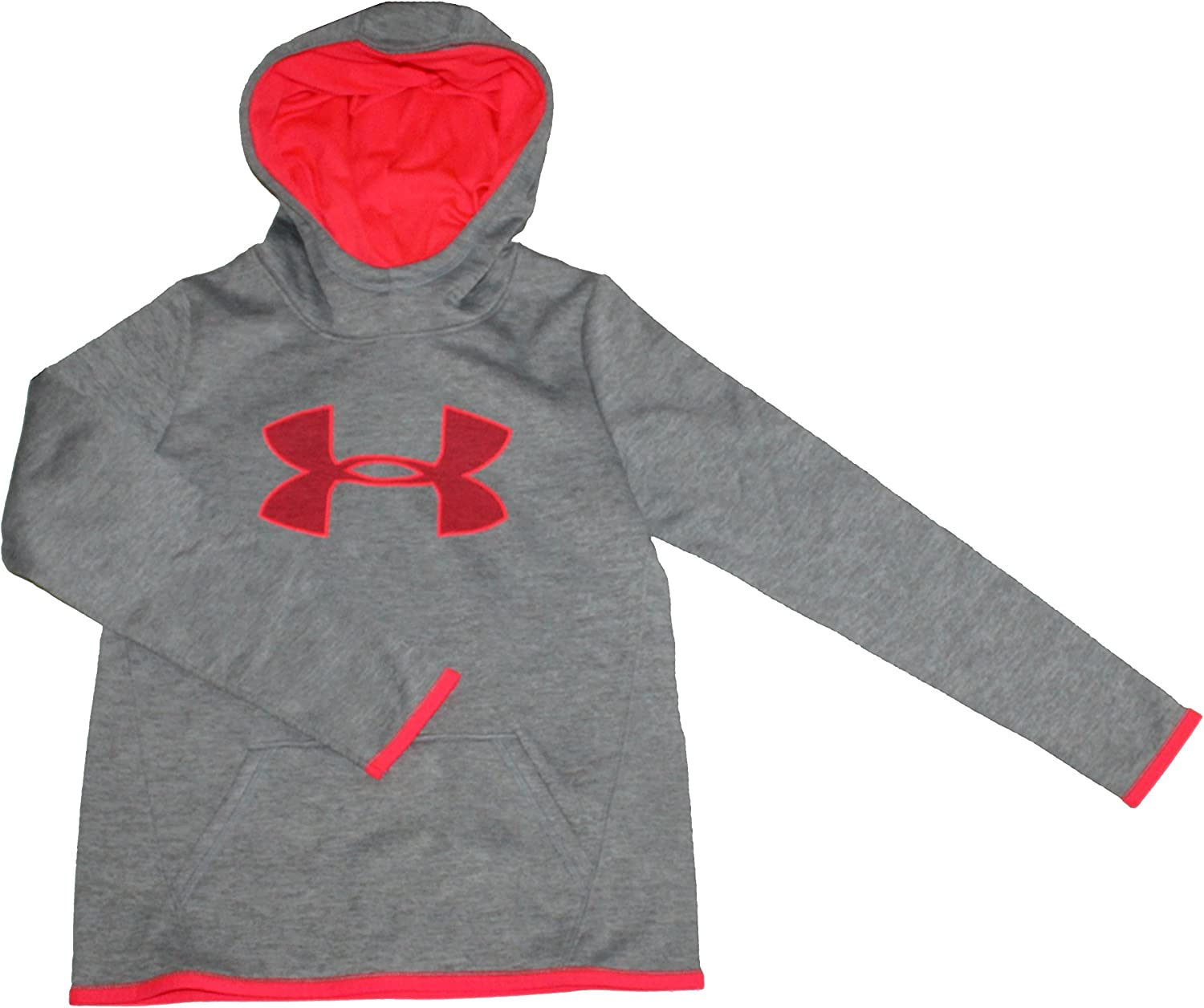 Under Armour Girls Youth Gray & Pink Athletic Storm Fleece Lined Hoodie (X-Large)