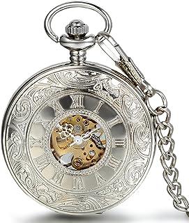 JewelryWe Montre de Poche Gousset Squelette Mécanique Manuel Rayure Fleur Chiffres Romains Pendentif Collier Alliage pour ...