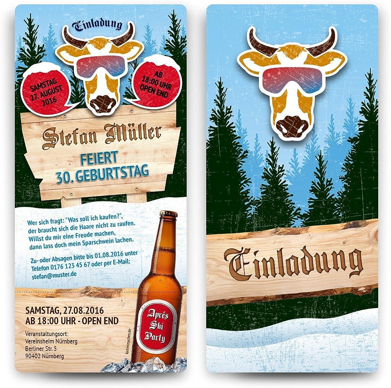 Einladungskarten zum Geburtstag Geburtstag Geburtstag (60 Stück) Après-Ski Motiv - Ticket mit Abriss B01HYAG1CY | Deutschland Frankfurt  960899