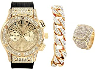 Hip Hop Bang Bang All Over You Men's Watch,Gold Iced Cuban Bracelet and Ring Set-Bling-ed Out Case and Dial with Smooth Black Easy Lock Rubber Band - ST10311GDCR Cuban 3pc Set