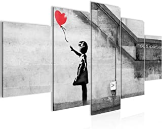 Banksy Abstract Wall Art Gris Blanc Jaune Fille Ballon toile Split photo