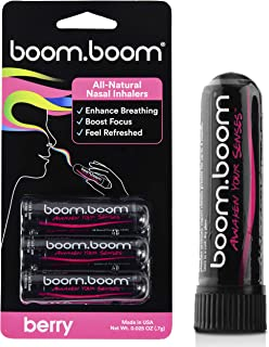 BoomBoom Aromatherapy Nasal Inhaler (3 Pack) Boosts Focus + Enhances Breathing   Provides Fresh Cooling Sensation   Made with Essential Oils + Menthol (Berry)