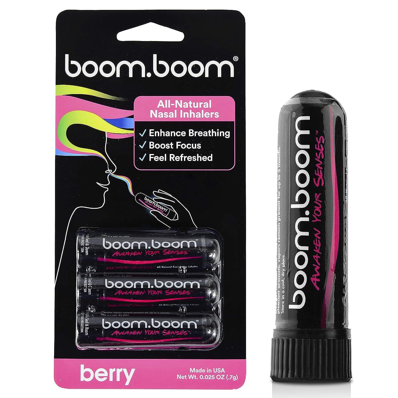 特異性収束テナントアロマテラピー鼻吸入器(3パック)by BoomBoom | すべての自然植物療法エッセンシャルオイル気化器| Stuffy Noseからのインスタントリリーフ| 素晴らしいフレーバーメントール、ペパーミント、ユーカリ(バラエティーパック) (ラズベリー+ブラックベリー+イチゴ)