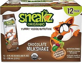 Sneakz Organic Veggie Nutrition Milkshake, Chocolate, 8 Oz, 12 Pack, Non-GMO, Usda Organic, Gluten Free, Kosher