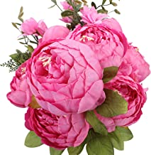 Duovlo Springs Flowers Artificial Silk Peony Bouquets Wedding Home Decoration,Pack of 1 (Spring Peach Pink)