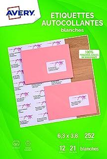 AVERY - Pochette de 252 étiquettes adressage autocollantes, Personnalisables et imprimables, Format 63,5 x 38,1 mm, Impres...