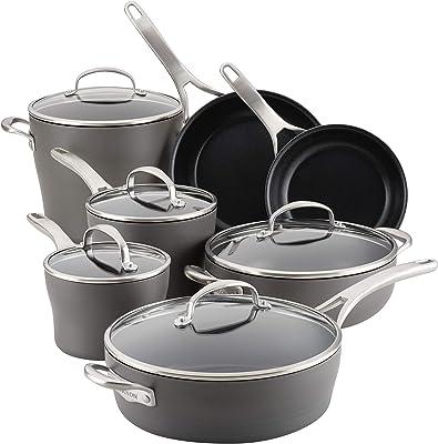 Anolon Allure Hard Anodized Nonstick Cookware Pots and Pans Set, 12 Piece, Dark Gray