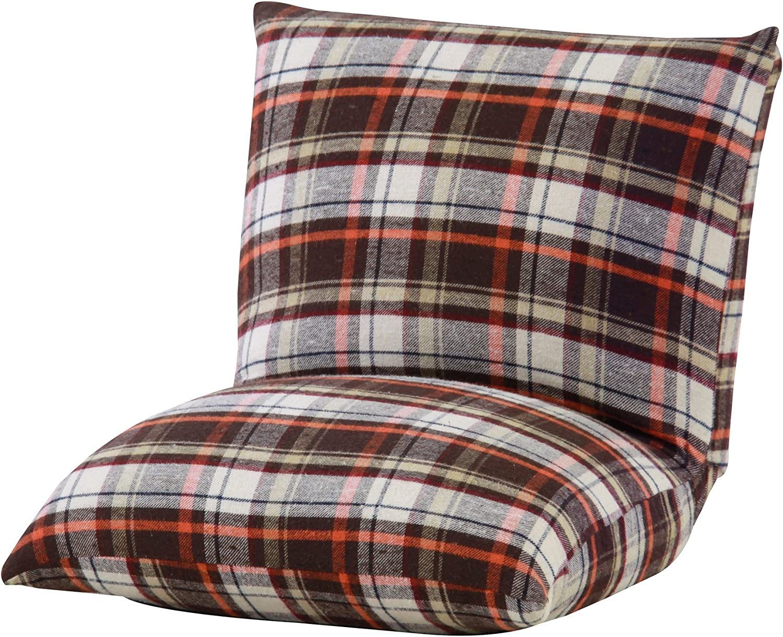 Azumaya Compact Kotatsu Floor Cushion Chair RKC-927BR Brown Check design