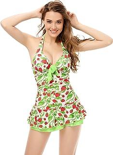 ed4fd1a45b Arctic Cubic One Piece Halter Push Up Green Strawberry Ruched Slim Tankini Swim  Dress