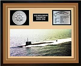 Navy Emporium USS Benjamin Franklin SSBN 640 Framed Navy Ship Display Brown