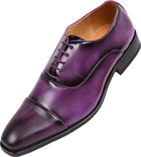 Amali The Original Men's Smooth Faux Leather Cap Toe Oxford Dress Shoes