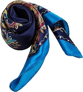 Foulard uomo donna blu e bianco fazzoletto da collo seta con disegni giraffe