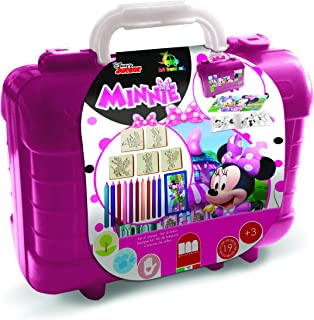 Multiprint - Mallette Travel Disney Minnie, fabriquée en Italie, Album à colorer, avec Puzzle et Crayons, Ensemble tampons...