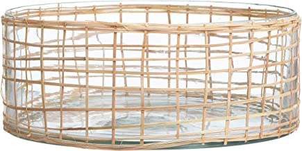Bloomingville Woven Rattan and Glass Bowl, Natural
