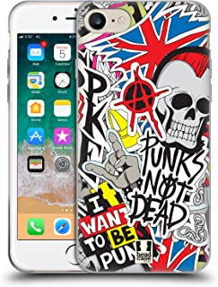 Head Case Designs Punks Not Dead Sticker Happy - New Soft Gel Case Compatible for iPhone 7 / iPhone 8