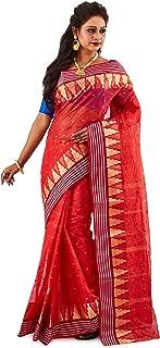 SareesofBengal Women's Jamdani Red Cotton Handloom Tangail Bengal Tant Saree