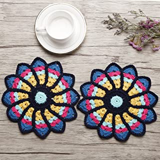 ZORJAR Placemats for Kitchen Coasters Doilies Round Handmade Crochet Cotton Colorful Lace Table Glass Coffee7.8 Inch Set of 2(Color2)