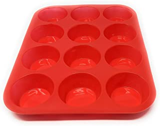 Seacoast Silicone Reusable Bread, Cake, Cupcake Trays and Muffin Baking Cups (1 Cupcake/Muffin Pan For 12, Red)
