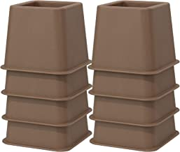 3 Inch Height Bed Risers, 8 Pack Heavy Duty Furniture Riser, Brown Plastic Bed Lifts for Additional Under Bed Storage