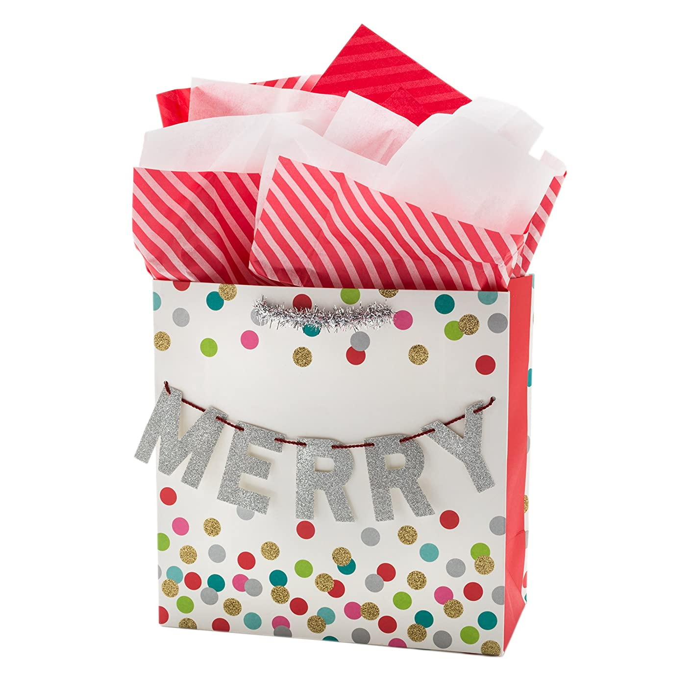 Hallmark Signature Large Christmas Gift Bag with Tissue Paper (White)